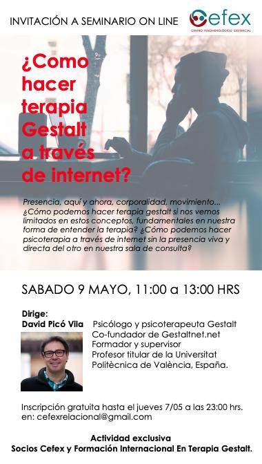 """"""" como practicar la terapia gestalt a través de internet"""" con David Picó"""